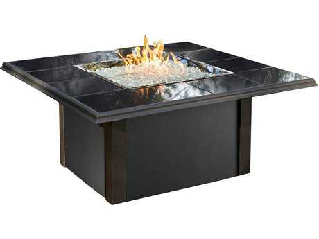 Outdoor GreatRoom Napa Valley Aluminum 50 Square Crystal Fire Pit Table with Black Metal Base