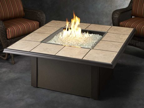 Outdoor GreatRoom Napa Valley Aluminum 50 Square Crystal Fire Pit Table with Brown Metal Base