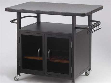 Outdoor GreatRoom Bistro Steel 36 x 23 Rectangular Cabinet with Granite Top & Glass Doors