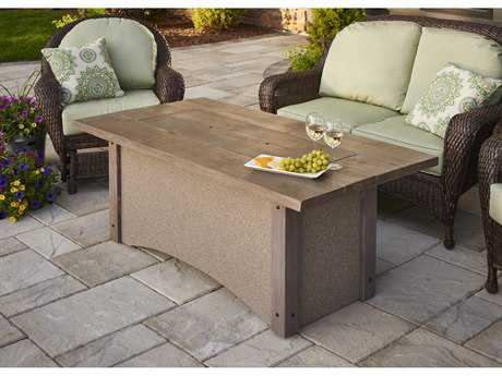Outdoor Greatroom Pine Ridge Fire Table with barnwood top