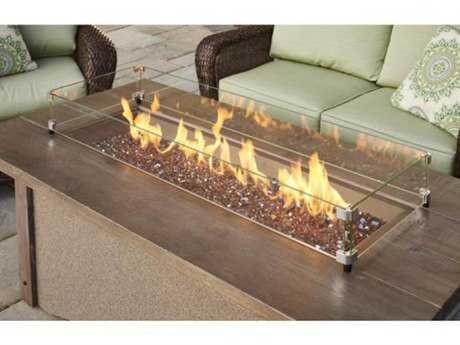 Outdoor Greatroom Pine Ridge 61W x 32D Rectangular Fire Table with barnwood top