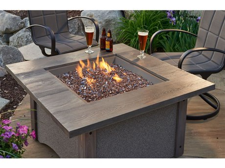 Outdoor GreatRoom Pine Ridge Square Fire Pit Table with Honey Glow Brown Burner