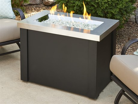 Outdoor GreatRoom Providence Stainless Steel Crystal Fire Pit Table with Black Metal Base PatioLiving