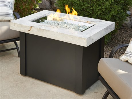 Outdoor GreatRoom Providence 36 x 25 Rectangular Crystal Fire Pit Table with White Onyx Marbleized Top & Black Metal Base