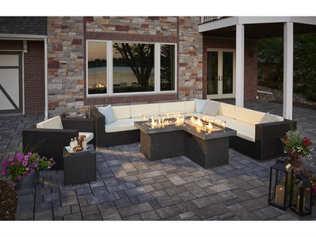 Outdoor GreatRoom The Pointe L-Shaped Crystal Fire Pit Table with Midnight Mist Supercast Top and Black Tereneo Base
