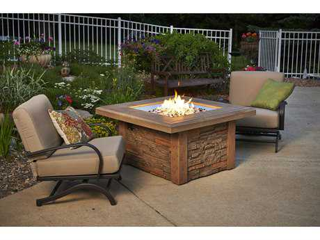Outdoor GreatRoom Sierra Stone 43 Square Crystal with Ledgestone Base Mocha Supercast Square Top & Square Burner Fire Pit Table