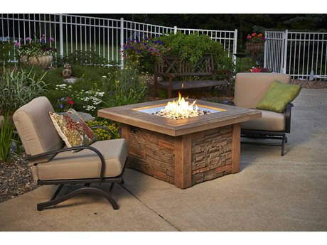 Outdoor Greatroom Sierra Steel Mocha 43''Wide Square Gas Fire Pit Table PatioLiving