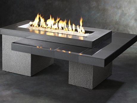 Outdoor Greatroom Uptown Black Fire Table with black granite tile top