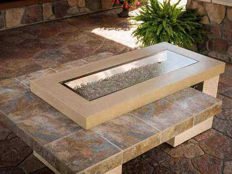 Outdoor Greatroom Uptown Brown Fire Table with sanjani porcelain tile top