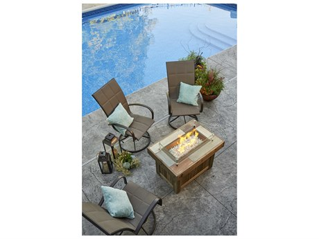 Outdoor Greatroom Vintage 37.12 x 25.5 Rectangular Gas Fire Pit Table