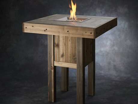 Outdoor GreatRoom Westport Pub Height Square Gas Fire Pit Table