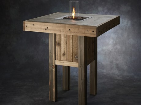 Outdoor GreatRoom Westport Pub Height Square Gas Fire Pit Table with Intrigue Table Top Fire