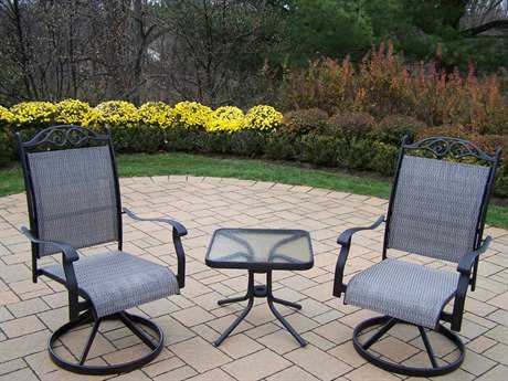 Oakland Living Cascade Aluminum 3 Pc. Swivel Chat Set