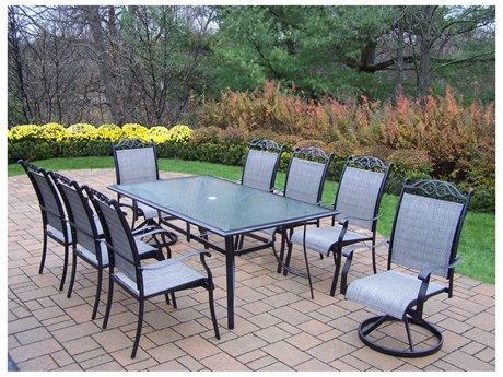 Oakland Living Cascade Aluminum Framed 9 Pc. Sling Dining Set with 72x42-inch table in Black
