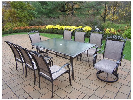 Oakland Living Cascade Aluminum Framed 9 Pc. Sling Dining Set with 72x42-inch table in Coffee