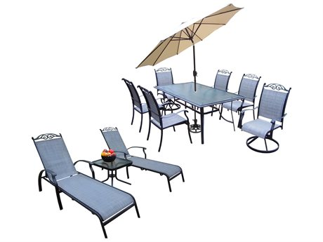 Oakland Living Cascade Aluminum framed 12 Pc. Dining Set with 72x42-inch table in Black