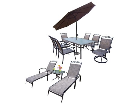 Oakland Living Cascade Aluminum Sling 12 Pc. Dining Set with 72x42-inch Table in Coffee