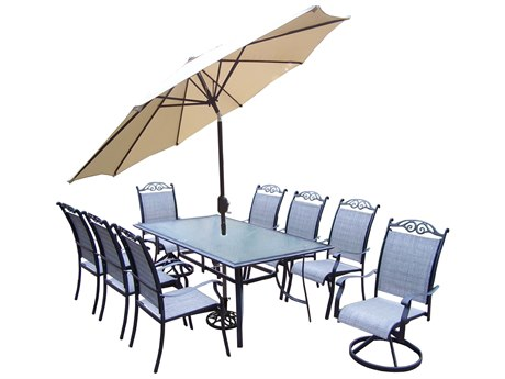 Oakland Living Cascade Aluminum framed 11 Pc. Dining Set with 72x42-inch table in Black
