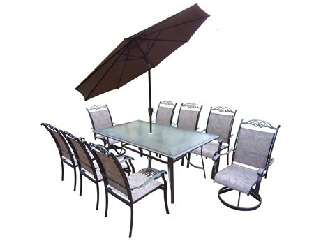 Oakland Living Aluminum framed 11 Pc. Dining Set with 72x42-inch table in Coffee