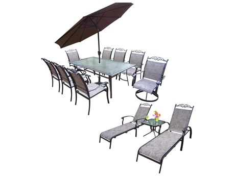 Oakland Living Cascade Aluminum Sling 14 Pc. Dining Set with 72x42-inch Table in Black