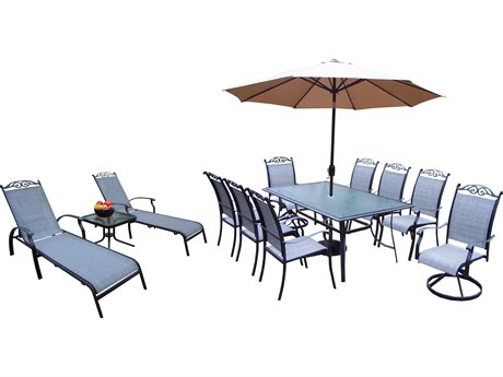 Oakland Living Cascade Aluminum Sling P14 Pc. Dining Set with 72x42-inch Table in Black
