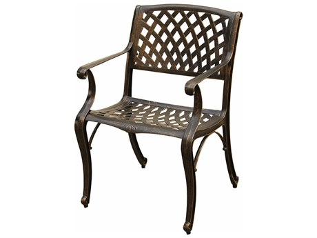 Oakland Living Mesh Ornate Bronze Aluminum Dining Arm Chair