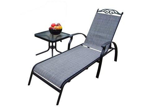 Oakland Living Cascade Aluminum framed Sling 2 Pc. Chaise Lounge Set in Black