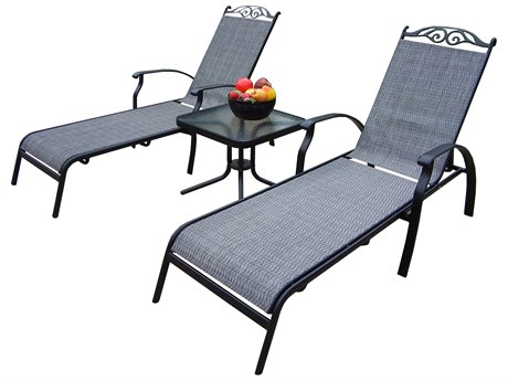 Oakland Living Cascade Aluminum-Framed Sling 3 Pc. Chaise Lounge Set in Black