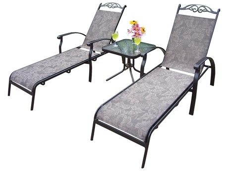 Oakland Living Cascade Aluminum Sling 3 Pc. Chaise Lounge Set with Two Chaise Lounges and a 20-inch Side Table in Coffee