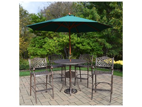 Oakland Living Elite Mississippi Cast Aluminum 7 Pc. Bar Set Includes a 42-inch Table