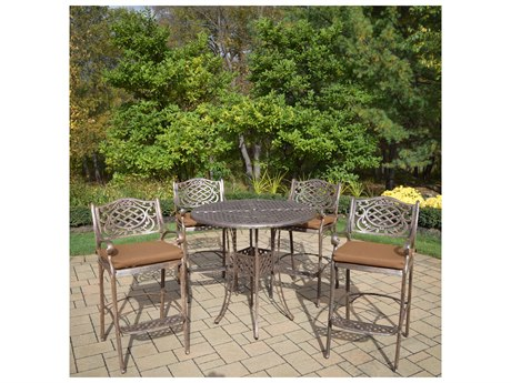 Oakland Living Elite Mississippi Cast Aluminum 5 Pc. Bar Set Includes a 42-inch Table