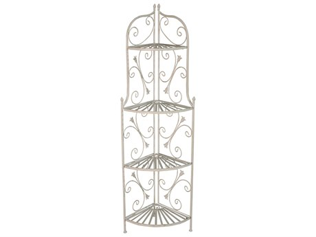 Oakland Living Ornate Antique Cream Steel Iron Porch Garden Four Level Plant Shelf Bakers Rack