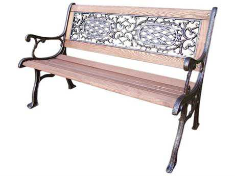 Oakland Living Mississippi Cast Aluminum Wood Arm Bench
