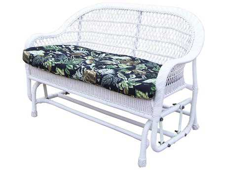 Oakland Living Resin Wicker Coventry Glider with Black Floral Cushion PatioLiving
