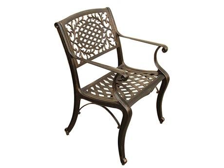 Oakland Living Mesh Ornate Bronze Cast Aluminum Dining Arm Chair