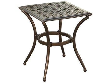 Oakland Living Bali Bronze Aluminum 19''Wide Square End Table with feet glides