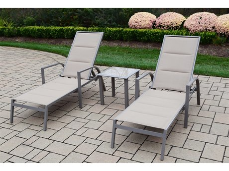 Oakland Living 2 Padded Sling Aluminum Chaise Lounges and 18-inch Screen Printed Side Table 3 Pc. Set