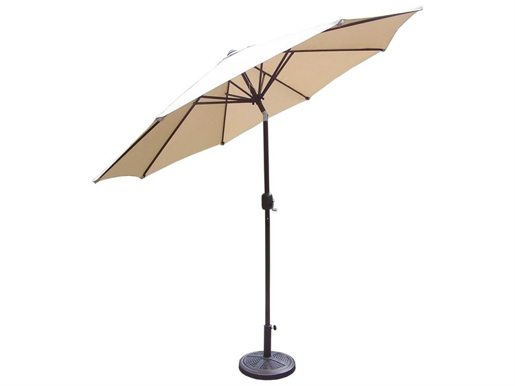 Oakland Living Aluminum 9 Foot strong Metal Framed Umbrella with Crank plus Tilt system and Cast PolyResin Stand PatioLiving