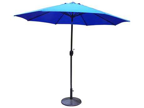 Oakland Living Aluminum 9 ft. Metal Framed Umbrella with Crank plus Tilt system and Heavy Duty Cast iron Stand