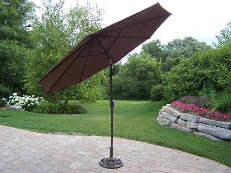 Oakland Living Aluminum 9 Ft Tilting & Cranking Umbrella and Stand
