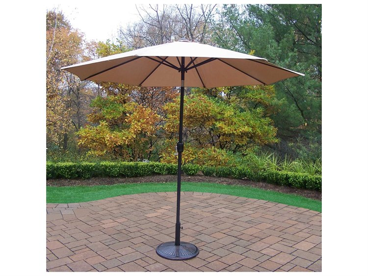 Oakland Living Aluminum 9 ft. Metal Framed Umbrella with Crank plus Tilt system and Heavy Duty Cast Iron Stand PatioLiving