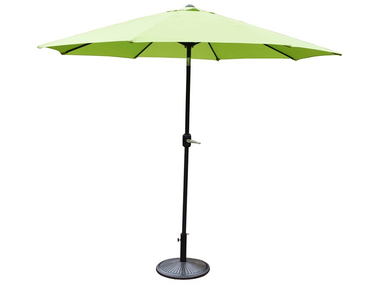 Oakland Living Aluminum 9ft. Metal Framed Umbrella with Crank plus Tilt system and Heavy Duty Cast iron Stand PatioLiving