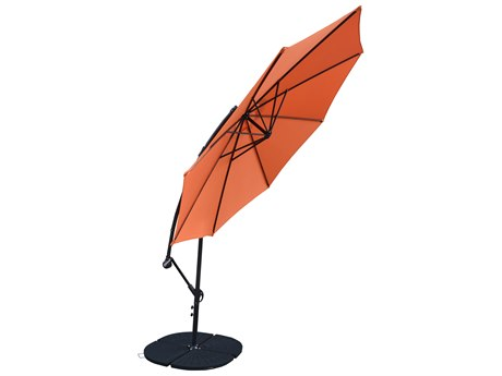 Oakland Living Orange and Black Aluminum 10 ft Cantilever Umbrella and 4 Pcs. Casted Polyresin Heavy Duty Weights