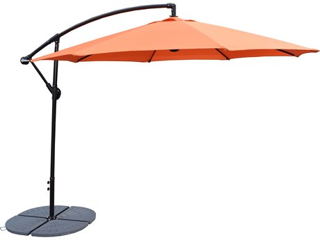 Oakland Living Grey Aluminum 10 ft Cantilever Umbrella and 4 Pcs. Casted Polyresin Heavy Duty Weights