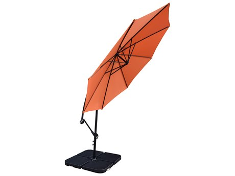 Oakland Living Orang and Black 10 ft Cantilever Umbrella and 4 Pcs. WATER or SAND Fillable Polyresin Heavy Duty Weights