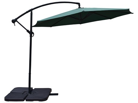 Oakland Living Green and Black Aluminum 10 ft Cantilever Umbrella and Four Pcs. WATER or SAND Fillable Polyresin Heavy Duty Weights