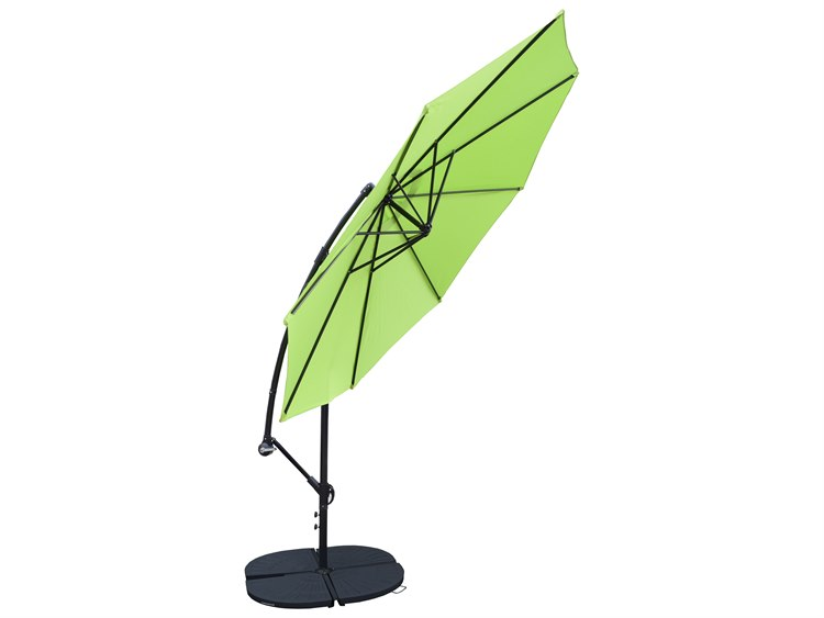 Oakland Living Black Aluminum 10 ft Cantilever Umbrella with Four Casted Polyresin Heavy Duty Weights PatioLiving