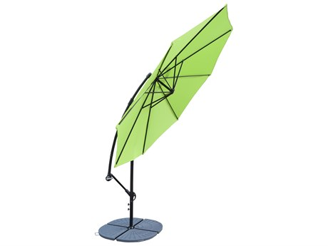 Oakland Living Grey Aluminum 10 ft Cantilever Umbrella with Four Casted Polyresin Heavy Duty Weights