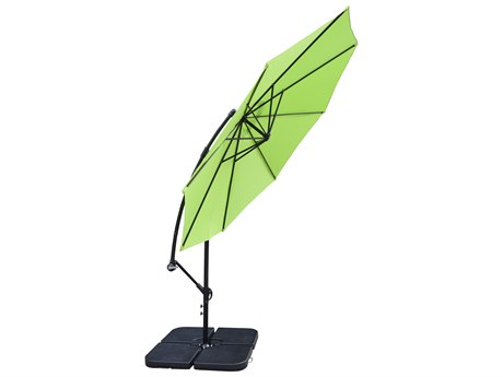 Oakland Living Lime Green Aluminum 10 ft Cantilever Umbrella and Four Pcs. WATER or SAND Fillable Polyresin Heavy Duty Weights
