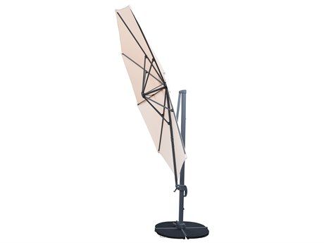 Oakland Living Beige Aluminum 11 Ft. Cantilever Umbrella and Stands 5 Pc. Set Includes a Cantilever Umbrella with 360 Degree Revert & Crank with Four Grey Casted Polyresin Heavy Duty Weights